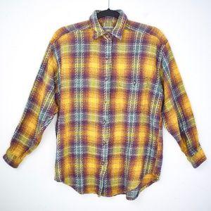 Vintage Colorful Plaid Boyfriend Flannel Shirt